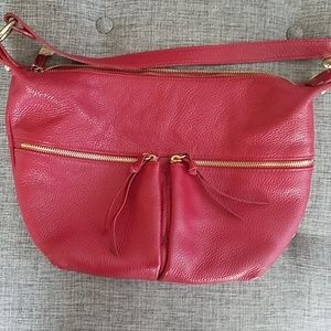 Beautiful red leather handbag by Jacky Celine
